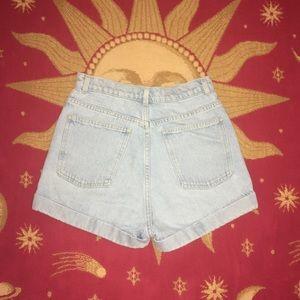 American Apparel Lightwash Cuffed Denim Shorts